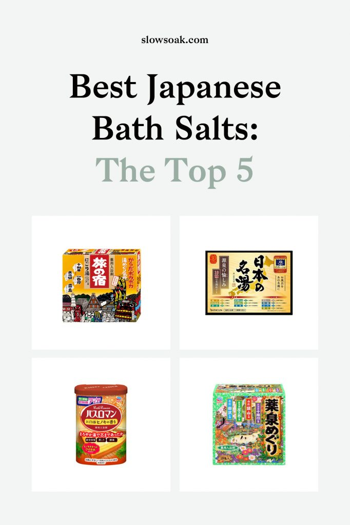 Best Japanese Bath Salts: Top 5 Onsen Bath Salts - Visit www.slowsoak.com to discover bathing culture from around the world. japanese bath, japanese bathing, japanese bath salts, bath salts, best bath salts, bath products, bath ideas, japanese bath salts amazon, japanese bath salts products, japanese bath produts, onsen salts, onsen bathroom, onsen at home, onsen diy, onsen home, self care, bath tub ideas, bath essentials, bath rituals, bath soak, bath water, bath aesthetic